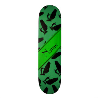 Personalized name green black windsurfing skate decks