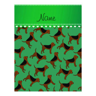 Personalized name green bloodhound dogs 21.5 cm x 28 cm flyer