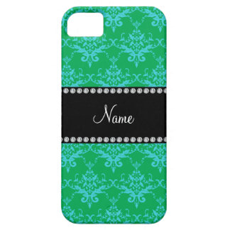 Personalized name Green blue damask iPhone 5 Covers