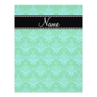 Personalized name Green blue damask Flyer