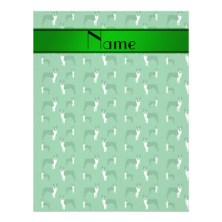 Personalized name green boston terrier 21.5 cm x 28 cm flyer