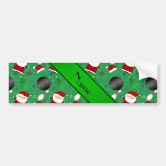 Personalized name green bowling christmas pattern bumper sticker