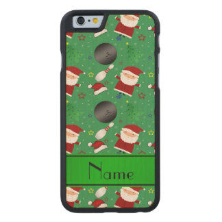 Personalized name green bowling christmas pattern carved® maple iPhone 6 slim case