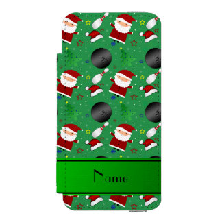 Personalized name green bowling christmas pattern incipio watson™ iPhone 5 wallet case