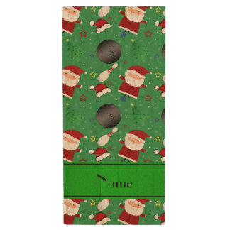 Personalized name green bowling christmas pattern wood USB 2.0 flash drive