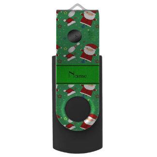Personalized name green bowling christmas pattern swivel USB 2.0 flash drive