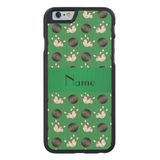 Personalized name green bowling pattern carved® maple iPhone 6 case