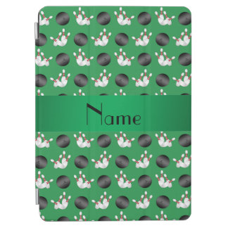 Personalized name green bowling pattern iPad air cover