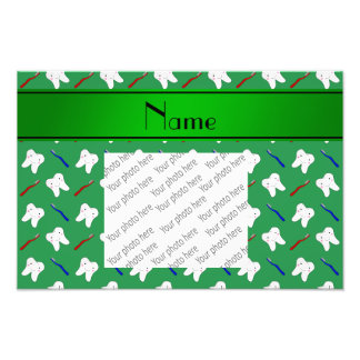 Personalized name green brushes and tooth pattern art photo