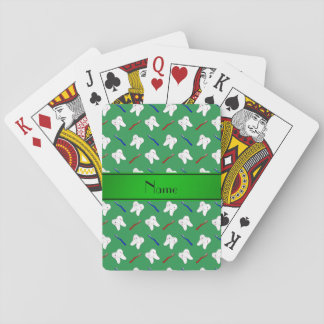 Personalized name green brushes and tooth pattern playing cards