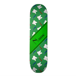 Personalized name green brushes and tooth pattern skateboard