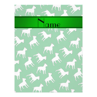 Personalized name green bull terrier dogs 21.5 cm x 28 cm flyer