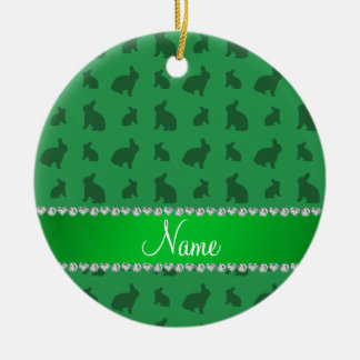 Personalized name green bunnies christmas ornament
