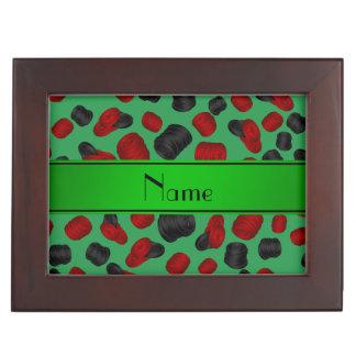Personalized name green checkers game keepsake box