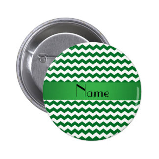 Personalized name green chevrons 6 cm round badge