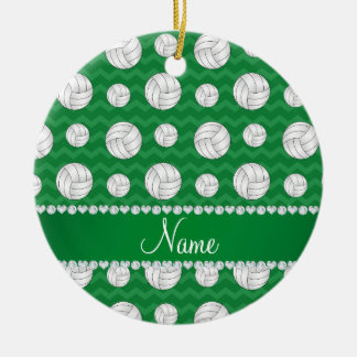 Personalized name green chevrons volleyballs round ceramic decoration