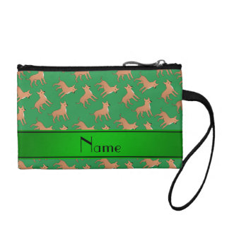Personalized name green chihuahua dogs coin purse