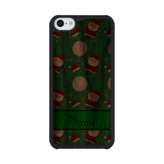 Personalized name green christmas golfing carved® walnut iPhone 5C slim case