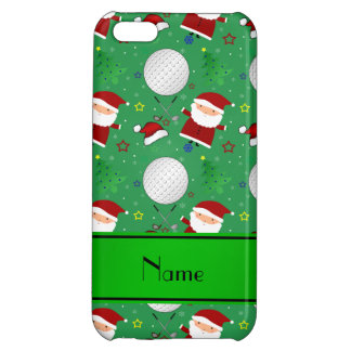 Personalized name green christmas golfing cover for iPhone 5C