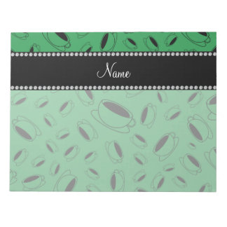 Personalized name green coffee cup notepad