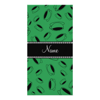 Personalized name green coffee cup photo card