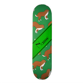 Personalized name green collie dog pattern custom skateboard