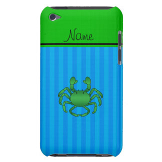 Personalized name green crab blue stripes iPod touch case