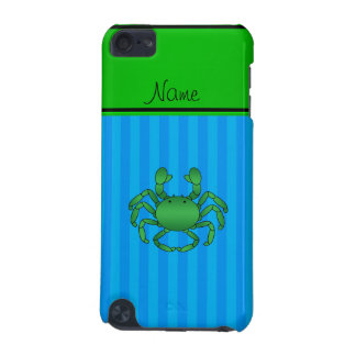 Personalized name green crab blue stripes iPod touch 5G cases