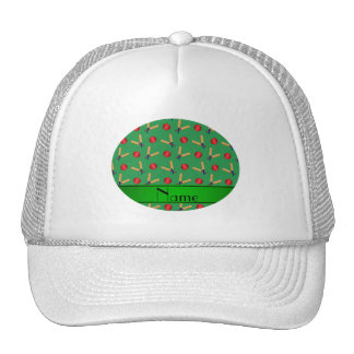 Personalized name green cricket pattern cap