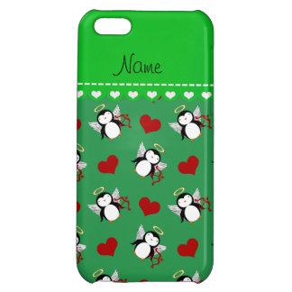 Personalized name green cupid penguins red hearts iPhone 5C case