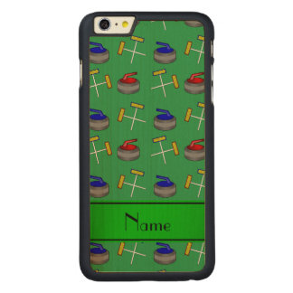 Personalized name green curling pattern iPhone 6 plus case