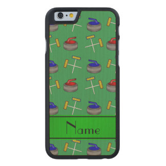 Personalized name green curling pattern carved® maple iPhone 6 slim case