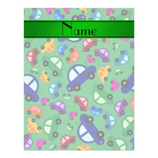 Personalized name green cute car pattern flyer