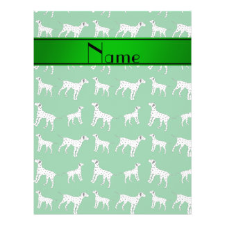 Personalized name green dalmatian dogs 21.5 cm x 28 cm flyer