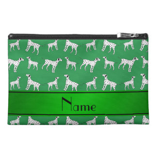 Personalized name green dalmatian dogs travel accessory bags