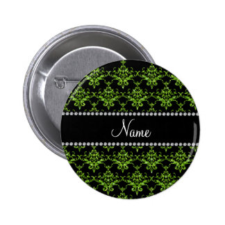 Personalized name green damask 6 cm round badge