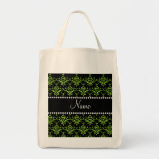 Personalized name green damask tote bag