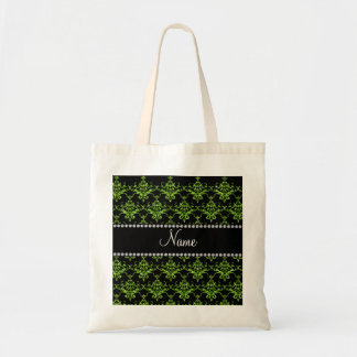 Personalized name green damask bags