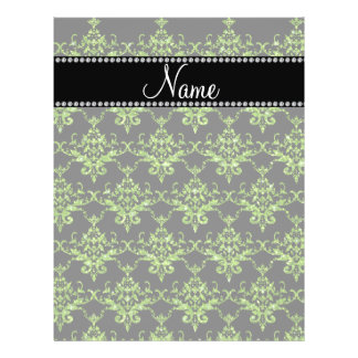 Personalized name green damask flyers