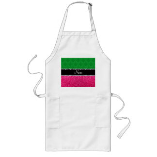 Personalized name green damask pink glitter apron
