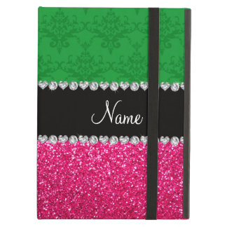 Personalized name green damask pink glitter iPad cases