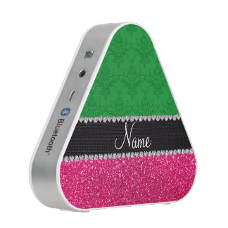 Personalized name green damask pink glitter bluetooth speaker