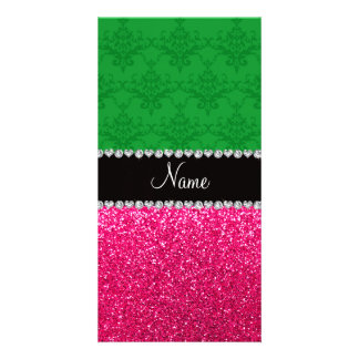 Personalized name green damask pink glitter photo card template