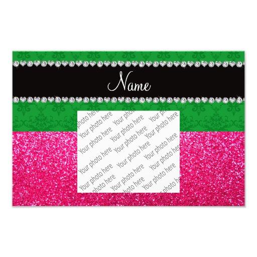Personalized name green damask pink glitter photo art