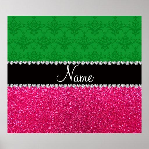 Personalized name green damask pink glitter print