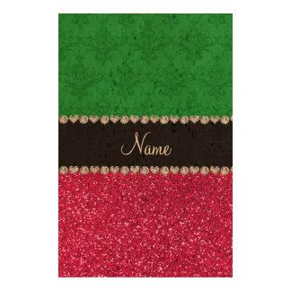 Personalized name green damask pink glitter cork paper