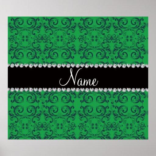 Personalized name green damask swirls print