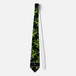 Personalized name green damask neck tie