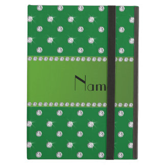 Personalized name green diamonds green stripe iPad folio case