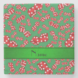 Personalized name green dice pattern stone coaster